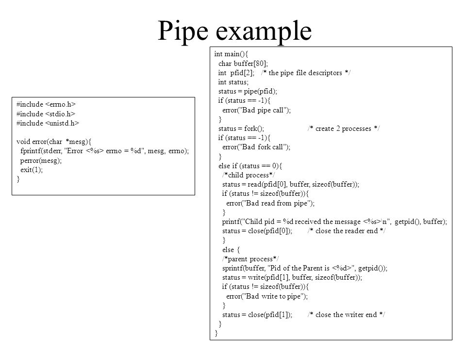 Pipe example int main(){ char buffer[80];